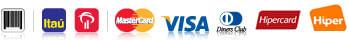 Boleto, Itaú, Bradesco, MasterCard, Visa, Dinners, Hippercard ou Hipper